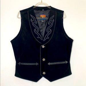 Cripple Creek Black Leather Button Down Vest Large